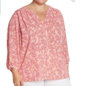 NYDJ Pintuck Pleat Crepe Blouse 2X